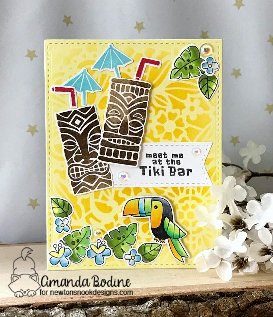 Tropical Tiki Bar Card by Amanda Bodine | Tiki Time and Toucan Party Stamp Sets by Newton's Nook Designs #newtonsnook #handmade
