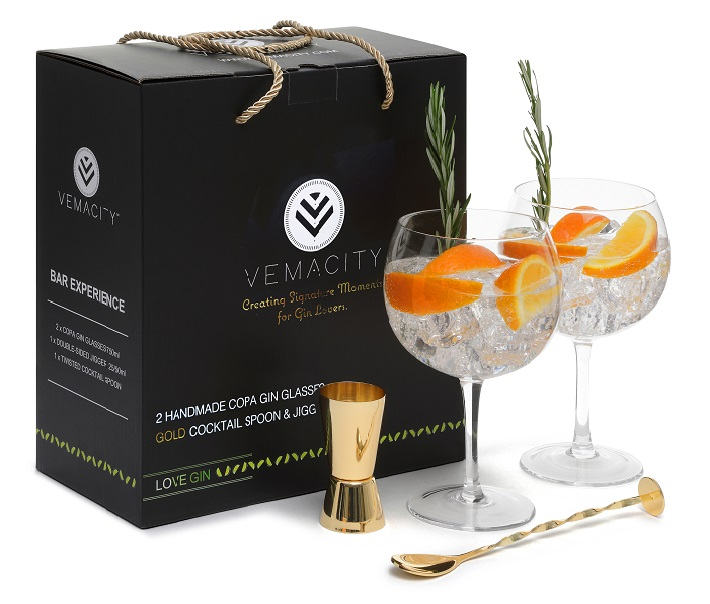 Handmade Copa Gin Glasses with Gold Bar Accessories from Vemacity