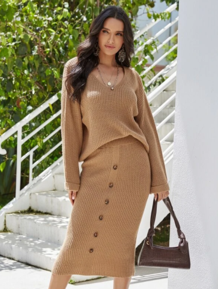 Camel Brown V neck sweater and skirt set