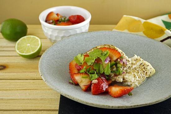 Halibut with strawberry salsa