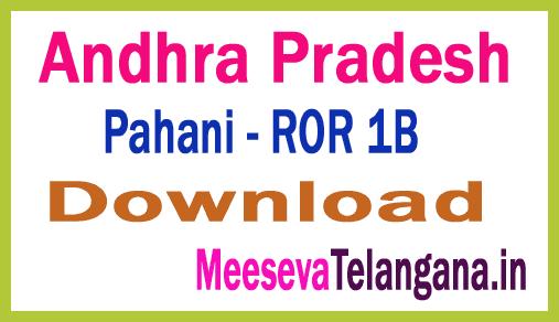 Andhra Pradesh (AP) Adangals Pahani | ROR 1B | FMB  Free Download