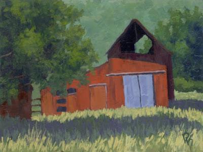 Kamas barn painting acrylic impressionist impressionism rural landscape