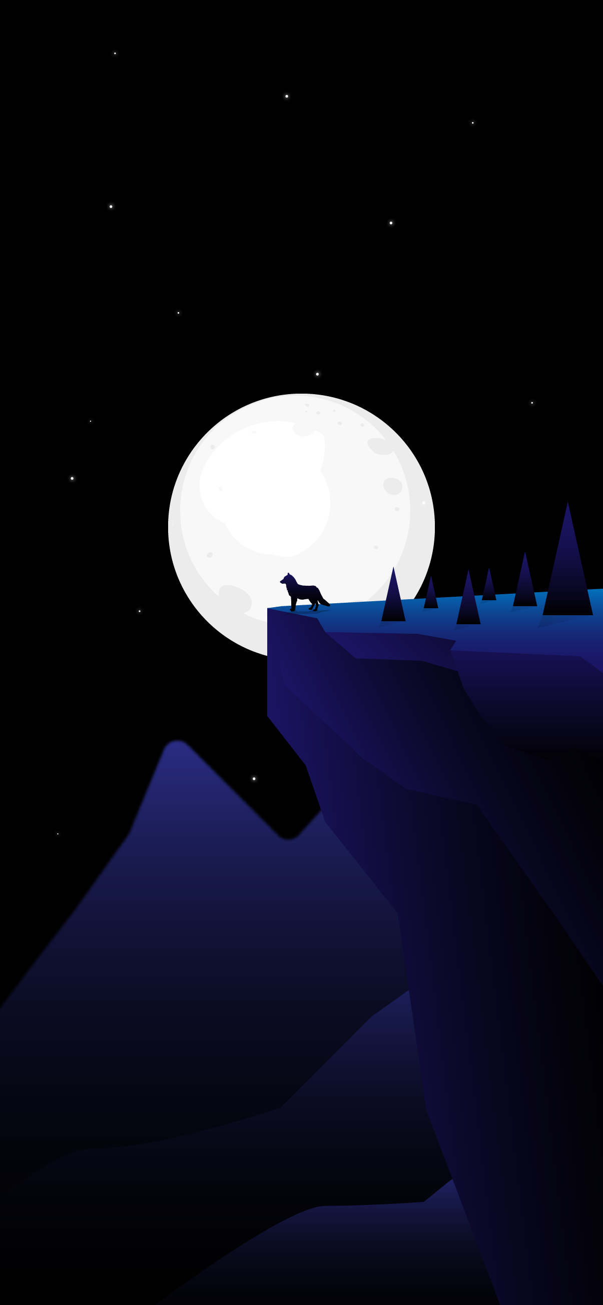cool and beautiful wallpaper for iphone of a wolf in the moon night