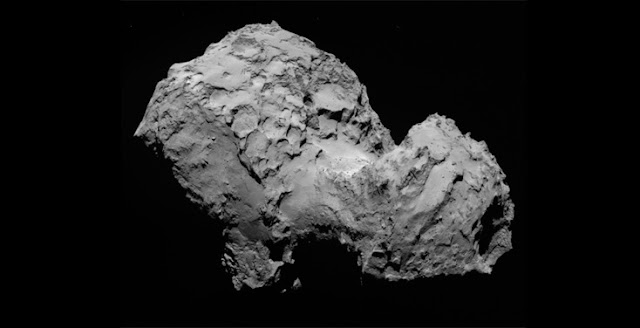 "The nucleus of comet 67P Churyumov-Gerasimenko (""Chury"") as seen by the European Rosetta space probe. Credit: ESA / Rosetta / MPS for OSIRIS Team MPS/UPD/LAM/IAA/SSO/INTA/UPM/DASP/IDA"