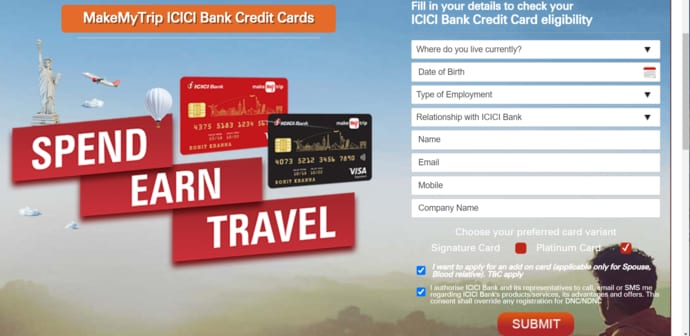 MakeMyTrip ICICI Bank Credit Card Online Apply