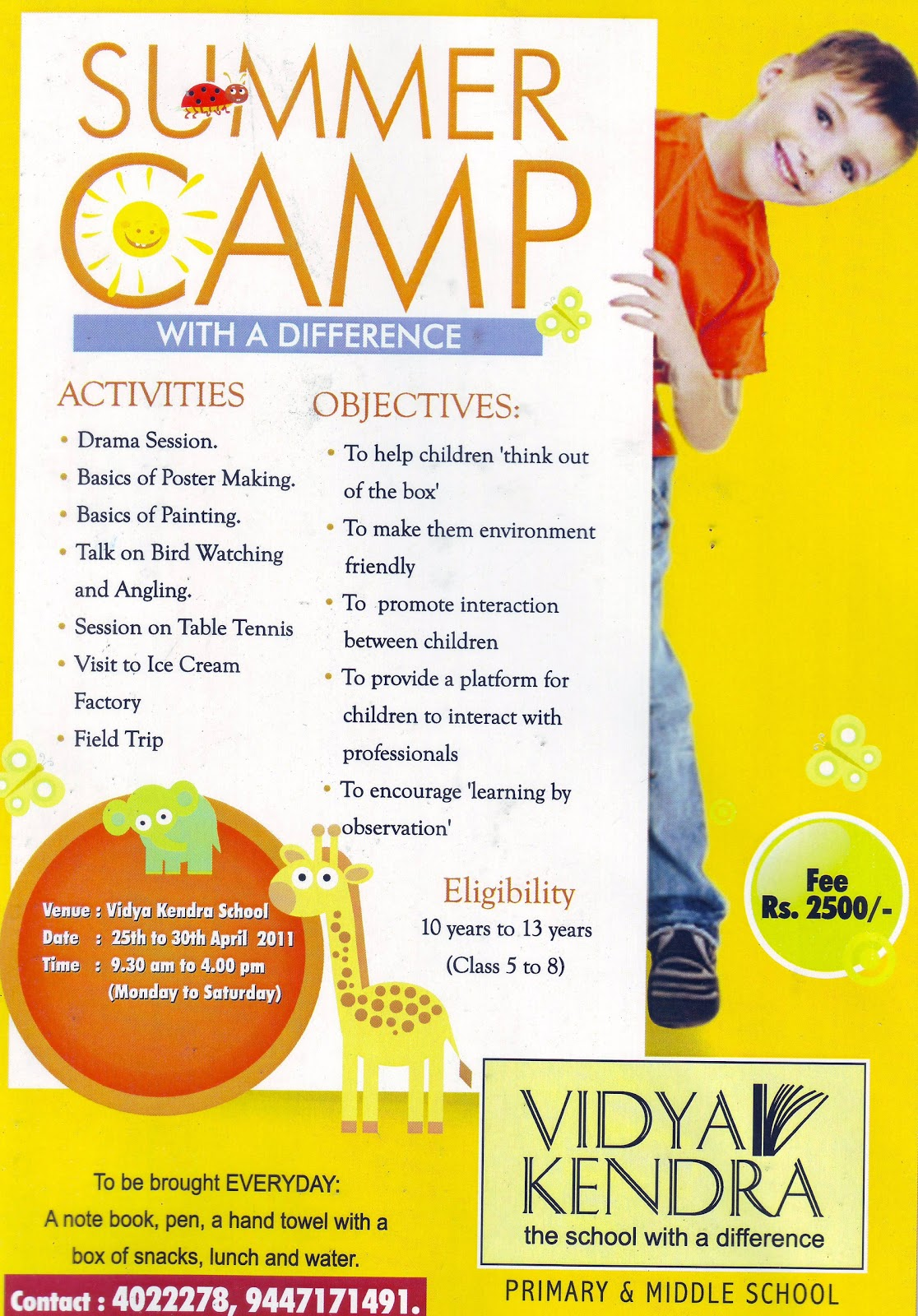 Summer Vacation Programmes Classes And Camps For Kids In