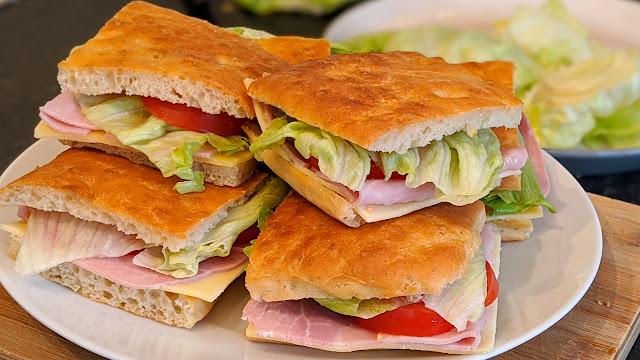 club sandwich, pique nique, recette, pain, focaccia, recipe, bread, easy, facile