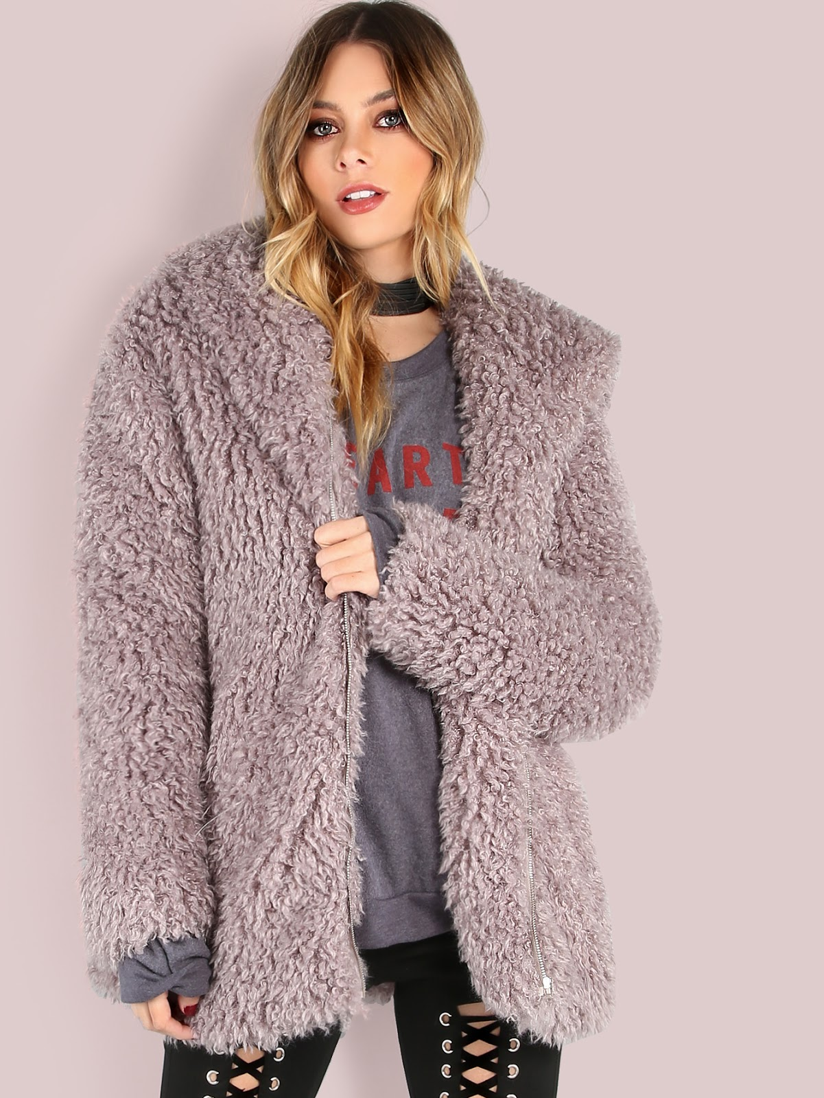 cheap lilac faux fur