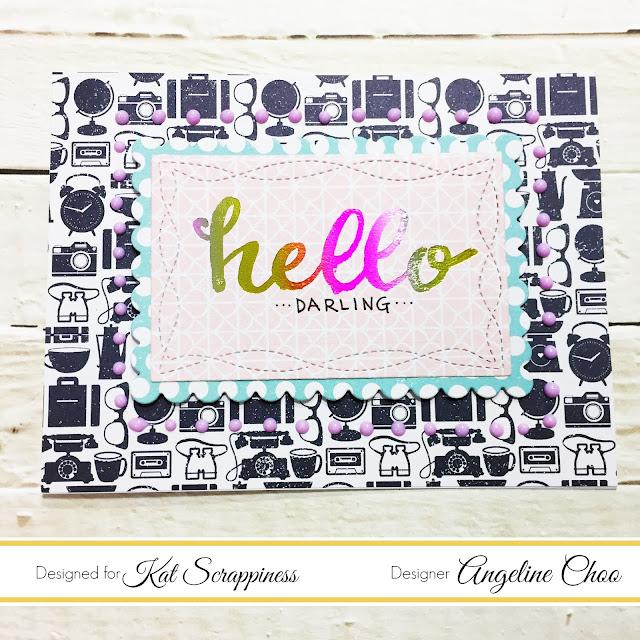ScrappyScrappy: Customized Foil Card with Kat Scrappiness #scrappyscrappy #katscrappiness #ginamariedesigns #heidiswapp #minctonerpen #mincfoil #thermoweb #decofoil #summerrainbow #shimelle #foil #foiling #nuvodrops #tonicstudios #hellodarling #diecut #card #cardmaking #papercraft