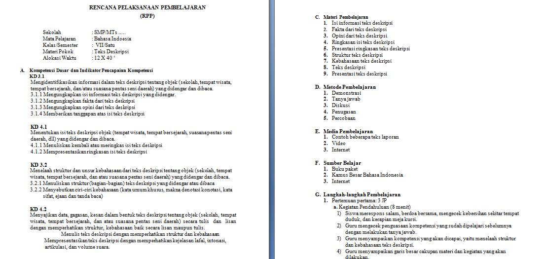 Contoh Rpp K13 Revisi 2017 Bahasa Indonesia Untuk Smp Mts Guru Loyal
