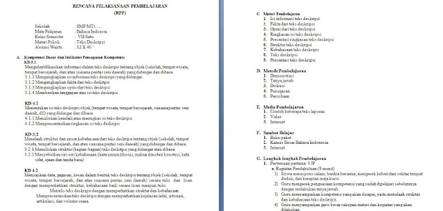 rpp k13 revisi 2017 bahasa indonesia kelas 7 smp mts (teks deskripsi)