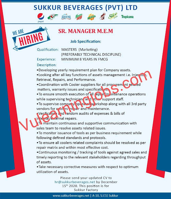 Sukkur Beverages (Pvt.) Limited Jobs 2020 In Pakistan For Senior Manager Latest