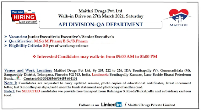 Maithri Drugs | Walk-in for Freshers and Expd in QA at Hyderabad on 27th Mar 2021
