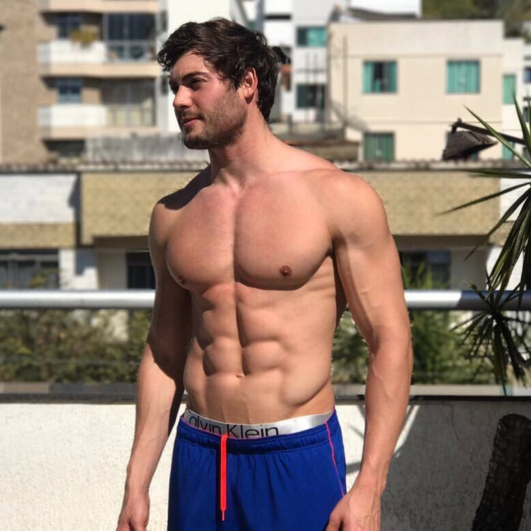 handsome-fit-pale-skin-dude-shirtless-body-hunk-blue-shorts