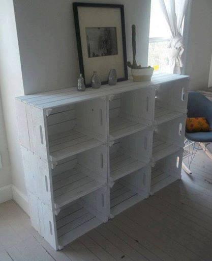 reutilizar caixotes de madeira estante aparador