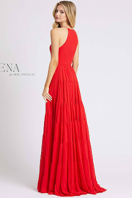 High neck evening dress Ieena For Mac Duggal red color back side