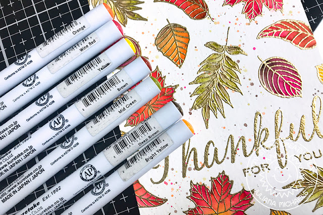 Sunny Studio Stamps: Elegant Leaves Fall Themed Thankful For You Card by Juliana Michaels