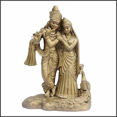 Radha Krishna Brass Finish Murti