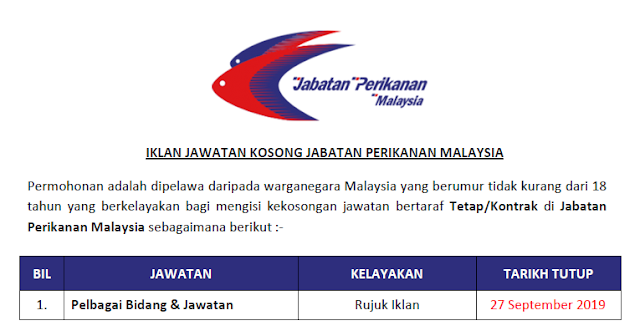 jawatan jabatan perikanan malaysia