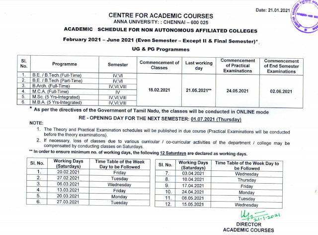 Anna University Academic Schedule 2021 2nd, 3rd & Final Years
