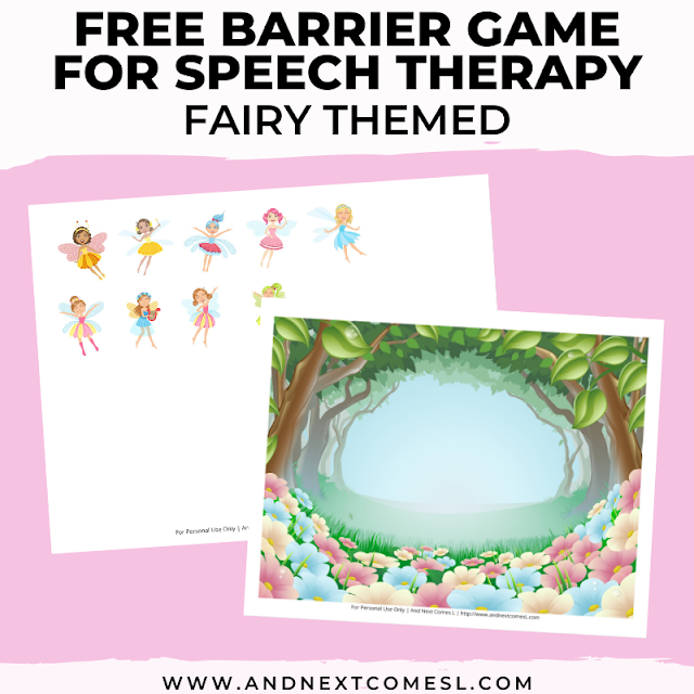 Free speech therapy barrier game: fairy themed
