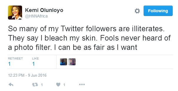 "Kemi Olunloyo calls her followers ""fools"" for accusing her of bleaching"