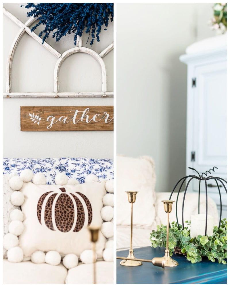 blue quilt, pom pom pumpkin pillow and brass candlesticks