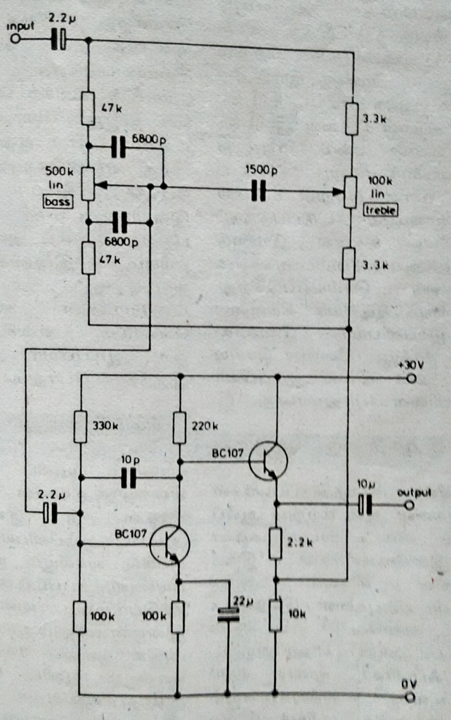 Tone control using Two NPN transistors (BC107