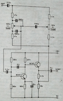 Tone control using Two NPN transistors (BC107)