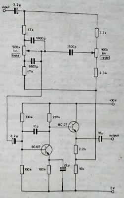 Tone control using Two NPN transistors (BC107)