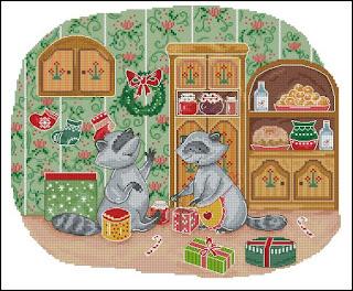 Cross-stitch «Еноты с подарками» Надежда Григорьева (Mandarinks)