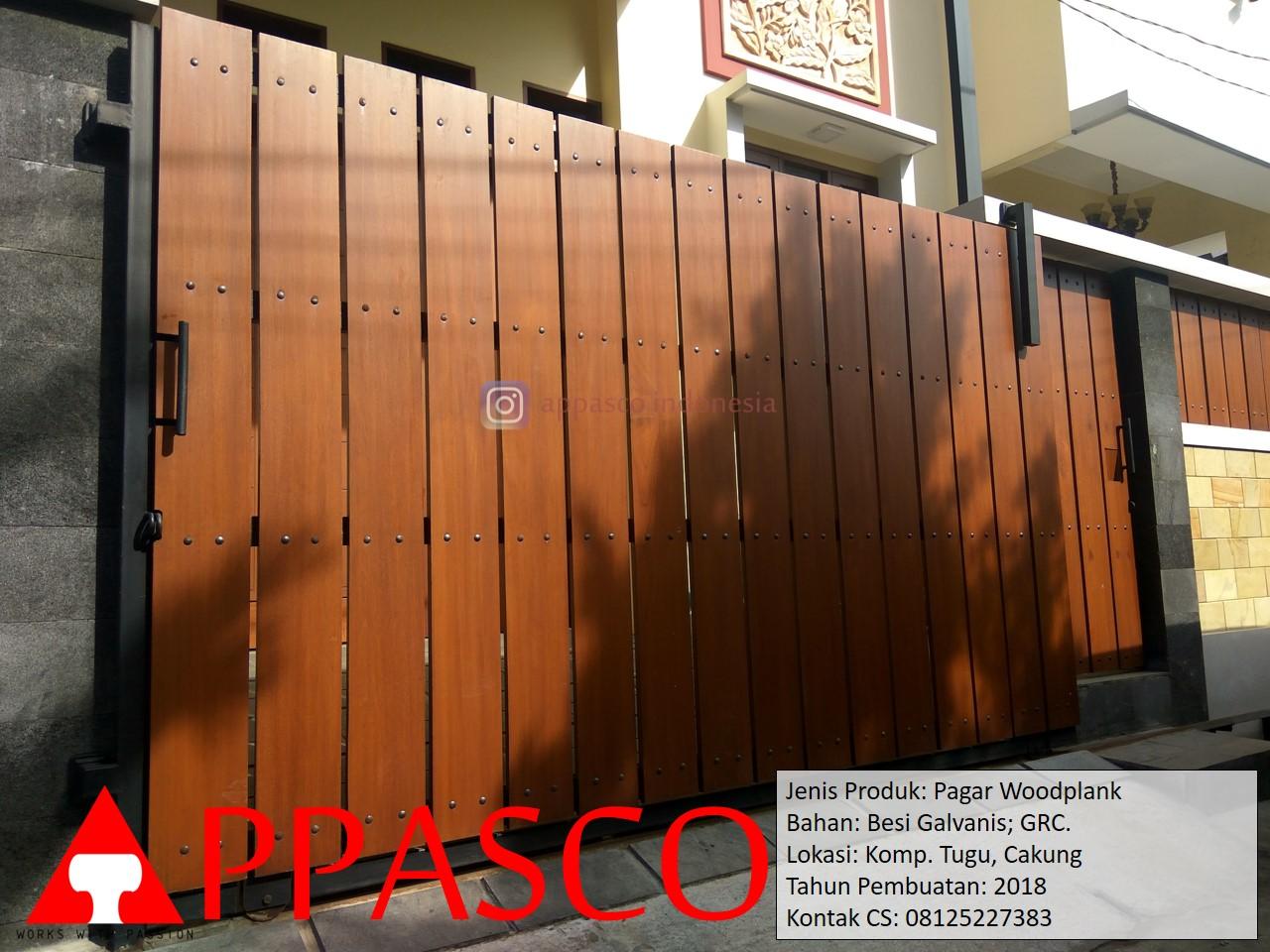 Pagar Minimalis Woodplank Besi Galvanis Motif Kayu GRC Di Tugu Cakung -  Jual Kanopi Tralis