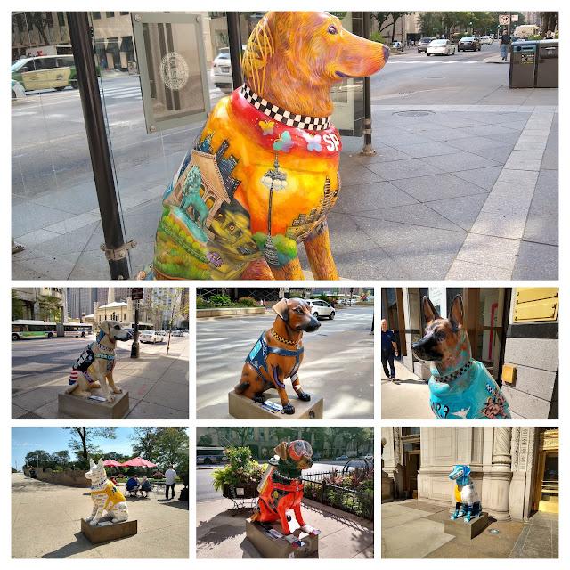 Чикаго. Статуи собак