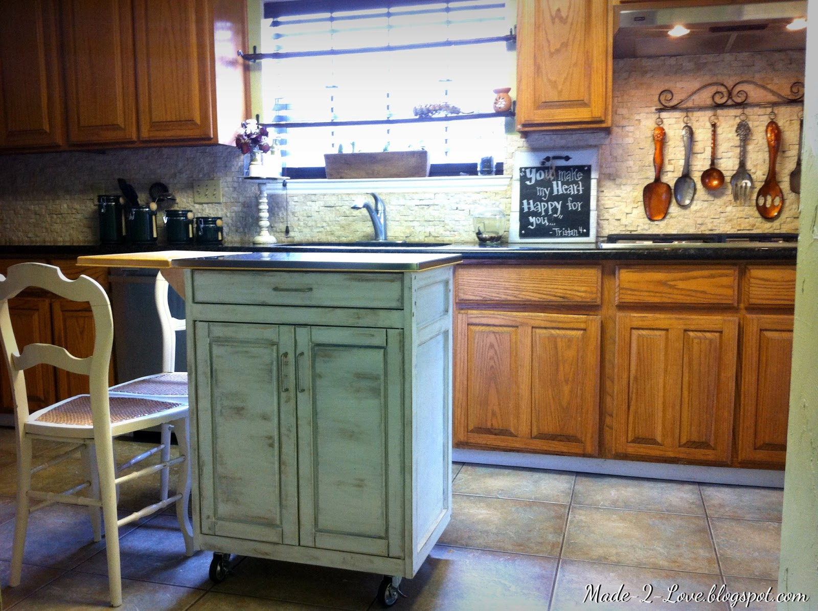 Distressed Kitchen Island Water Resistant Laminate Flooring Made To Love