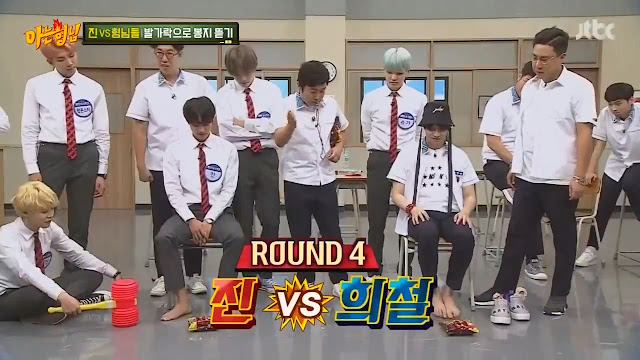 Jin mengalahkan 5 brothers dalam adu cepat membuka bungkus cemila (Knowing Brothers episode 94)