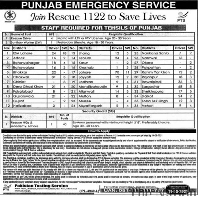 Rescue 1122 jobs in Lahore