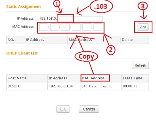 DHCP Client List