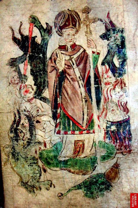 São João Bridlington no Purgatório de São Patrício, miniatura de 'The Vision of William of Stranton', British Library