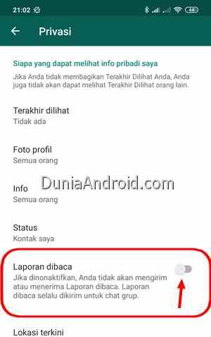Menonaktifkan laporan dibaca WhatsApp