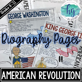 Thumbnail of American Revolution Biography Pages by History Gal
