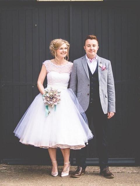 White Polka Dot Wedding Dress Tea Length Wedding Dress 50s Wedding Dress