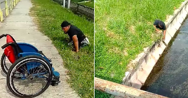 Disabled Man Gets Out Of His Wheelchair And Risks His Life To Save Kitten Stuck In Drain
