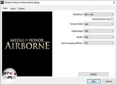 اختيار الإعدادات المناسبة لتشغيل لعبة Middle of Honor Airborne