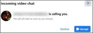 Facebook Messenger تلقي مكالمة فيديو