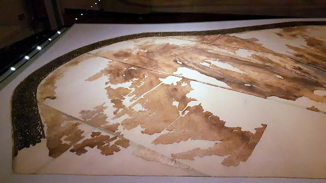fragments of the dress from eleonora di Tolero in the fashion museum palazzo pitti