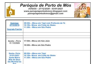 Avisos Paroquiais - 27/12/2020 - 03/01/2021