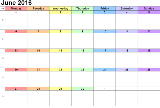 Free June 2016 Printable Blank Calendar Template