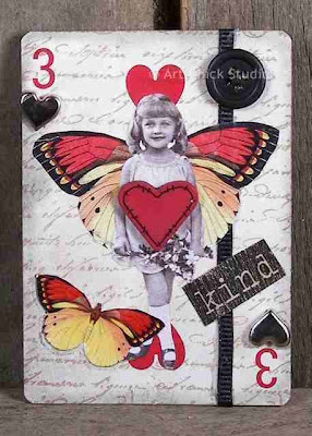 3 of Hearts Altered Art ATC