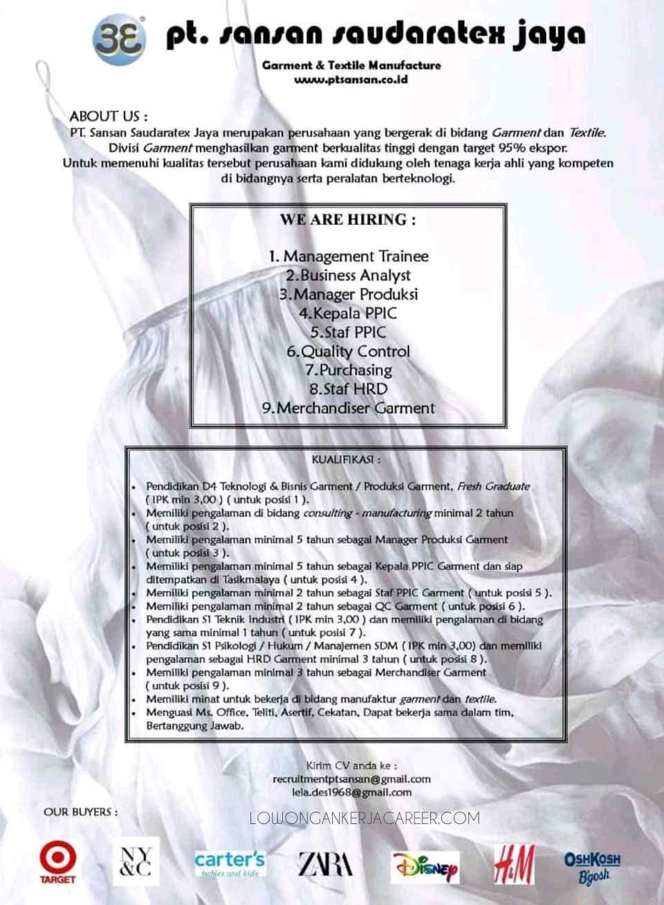 Lowongan Kerja Pt Sansan Saudaratex Jaya Terbaru 2020 Lowongankerjacareer Com