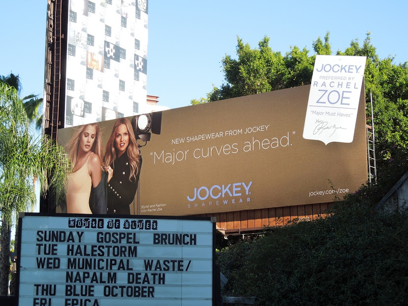 Jockey Major curves ahead Rachel Zoe billboard